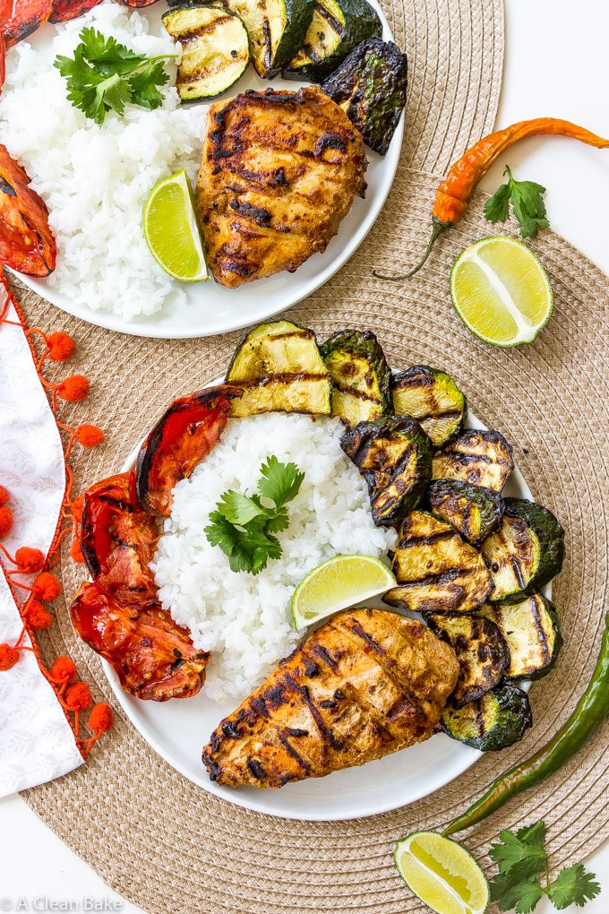 Grilled Tandoori Chicken with Grilled Vegetables (Gluten Free, Paleo, and Whole30)