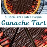 Decadent chocolate ganache tart pie with strawberries and chocolate drizzle.