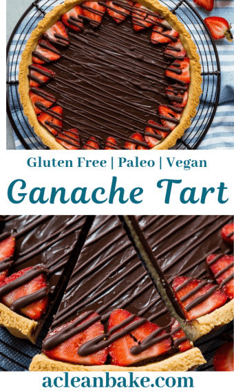 Decadent chocolate ganache tart pie with strawberries and chocolate drizzle.