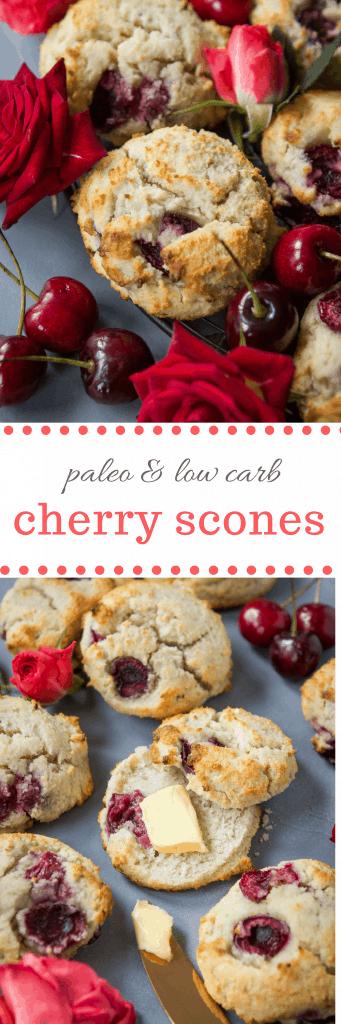Paleo Cherry Scones #sugarfree #glutenfree #lowcarb #dairyfree #scone #breakfast #dessert #recipe