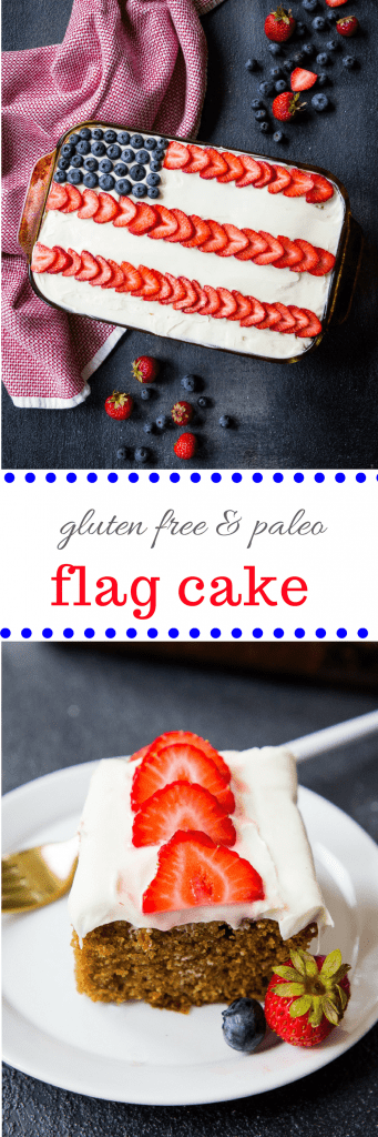 Paleo Sheet Cake or Flag Cake (gluten free, paleo, naturally sweetened)