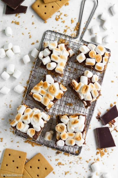 Gluten free, vegan, and paleo s'mores bars on a cooling rack