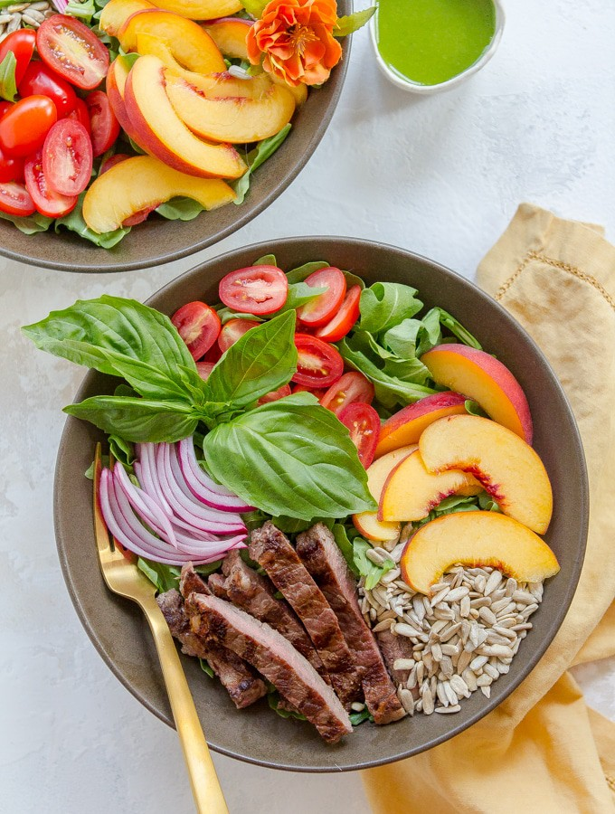 Summer Steak Salad with Peaches and Basil Vinaigrette (Gluten Free, Paleo and Whole30)