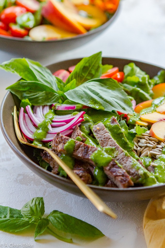 Summer Steak Salad Recipe with Peaches and Basil Vinaigrette (gluten free, paleo, whole30)