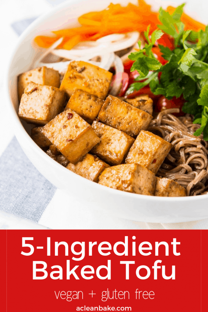 5 ingredient baked tofu makes dinner easy! Whip up this easy protein to enjoy alongside noodles, Buddha Bowls, or your favorite healthy meal. #glutenfree #vegan #glutenfreerecipe #glutenfreedinner #veganrecipe #vegandinner #healthyrecipe #healthydinner #easydinner #easyhealthydinner #healthydinnerideas