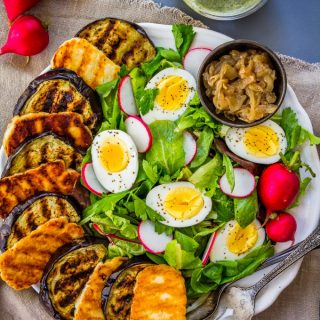 Grilled Eggplant Salad with Halloumi and Pesto Dressing (gluten free, paleo-ish, low carb, Whole30 Adaptable)