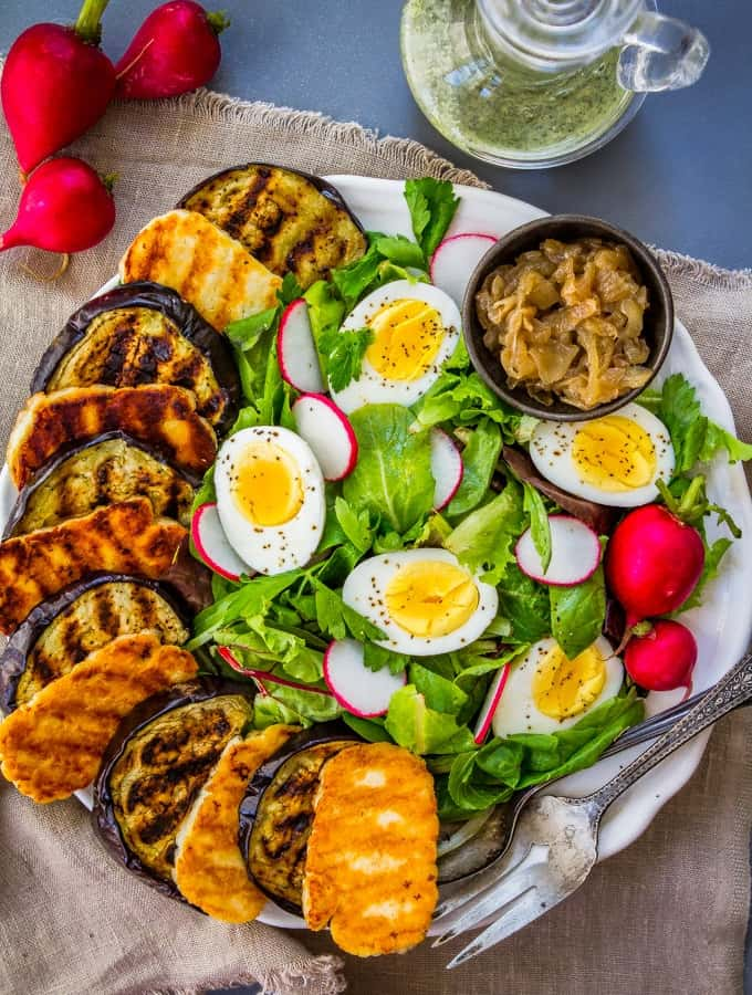 Grilled Eggplant Salad with Halloumi