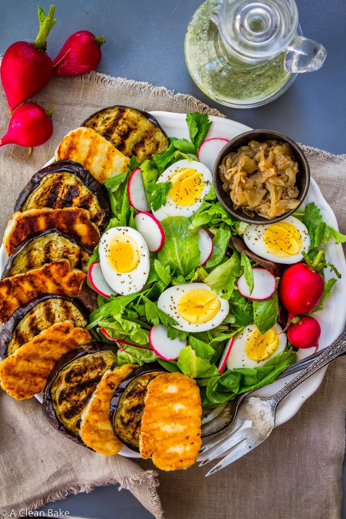 Grilled Eggplant Salad with Halloumi (Gluten Free)