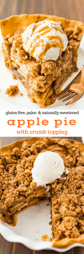 Paleo Apple Pie with Crumb Topping (#paleo, #glutenfree, #grainfree, #dairyfree)