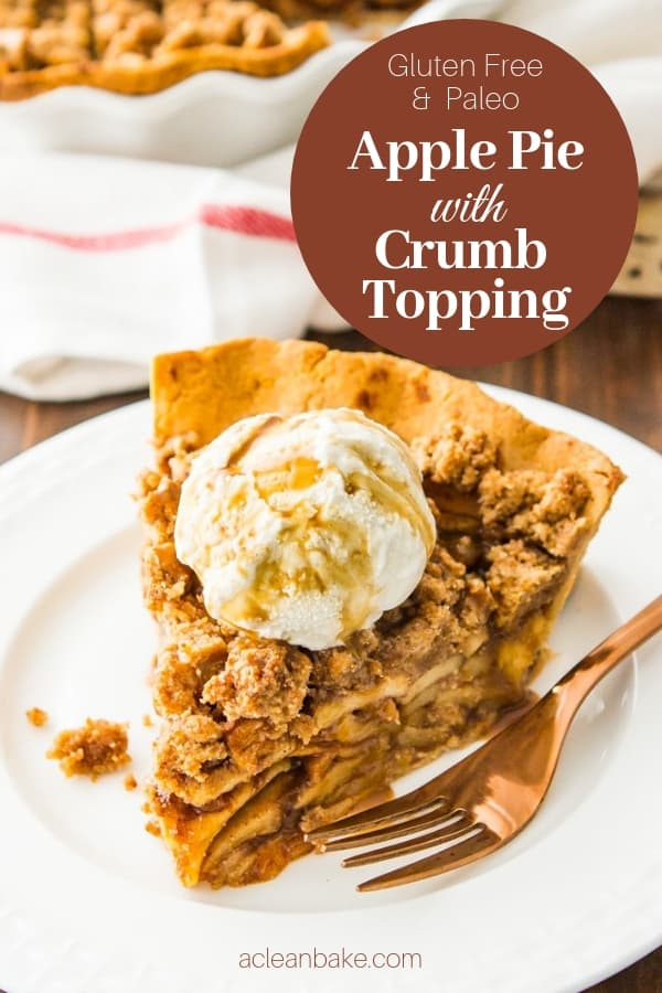 Slice of paleo apple pie with crumb topping on a plate with a fork