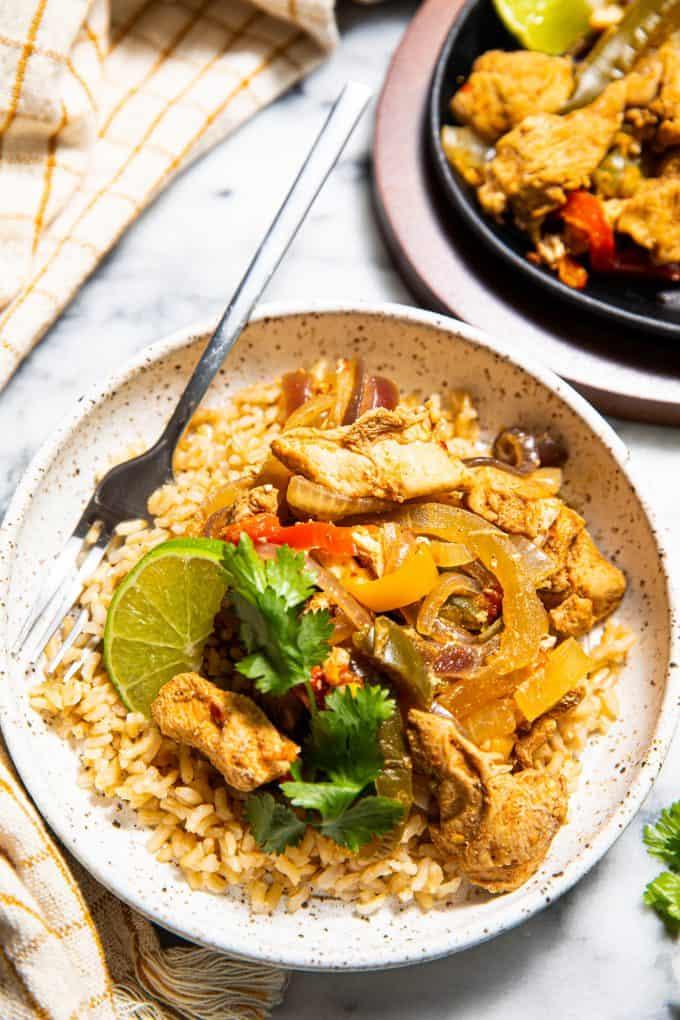 Slow Cooker/crockpot Fajitas in a bowl