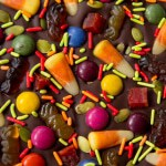 Halloween Bark Made out of Dark Chocolate and Naturally-Colored Candies! (#glutenfree #paleo #chemicalfree #recipe #chocolate