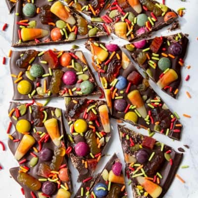 Halloween Bark with naturally colored candy