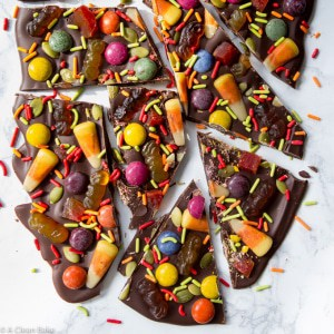 Halloween Bark Made with Dark Chocolate and Naturally-Colored Candies!