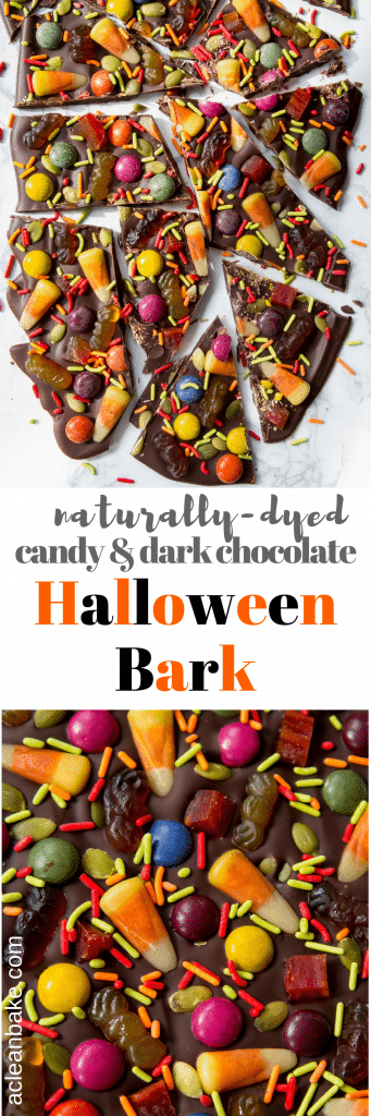 Halloween Bark Made with Dark Chocolate and Naturally-Colored Candies! (#glutenfree #paleo #chemicalfree #recipe #chocolate