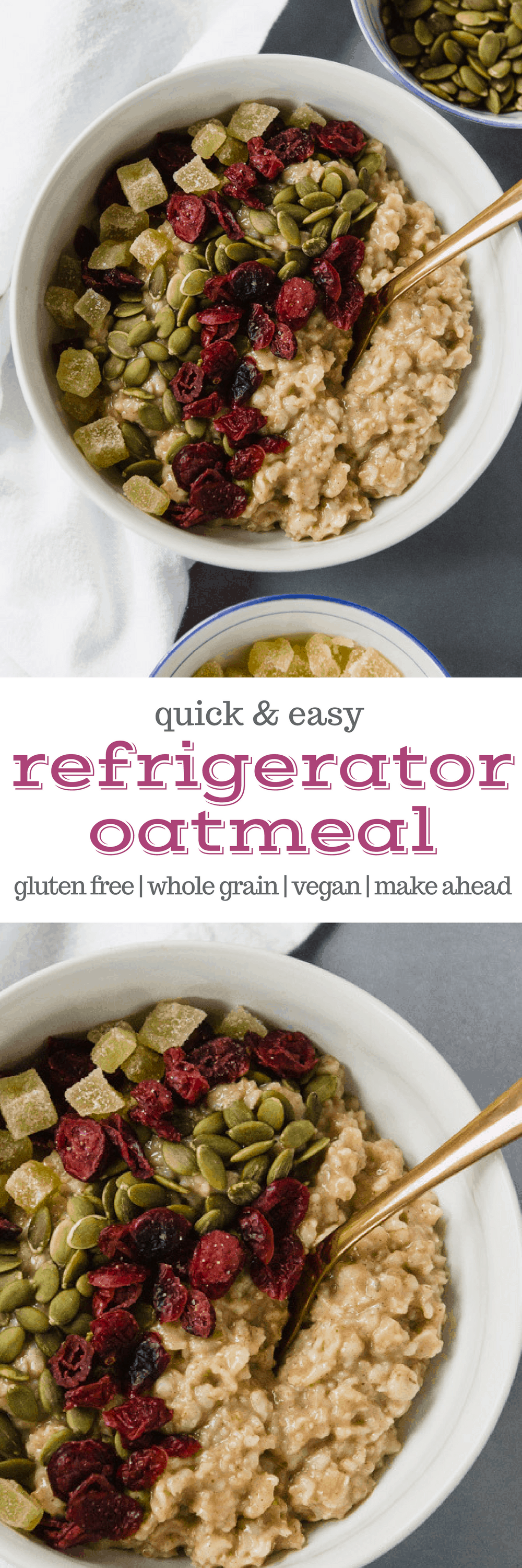 Add this refrigerator oatmeal to your breakfast rotation! It's a make-ahead batch cooking recipe that finishes up in the fridge while it waits for you. Plus, it's vegan and gluten free - but don't forget to use certified gluten free oats! #glutenfree #breakfast #recipe #oatmeal #makeahead #mealprep #batchcooking #overnightoats