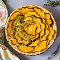 Roasted Acorn Squash Tart with Ricotta and Thyme (#glutenfree #paleo #vegetarian #thanksgiving #recipe)