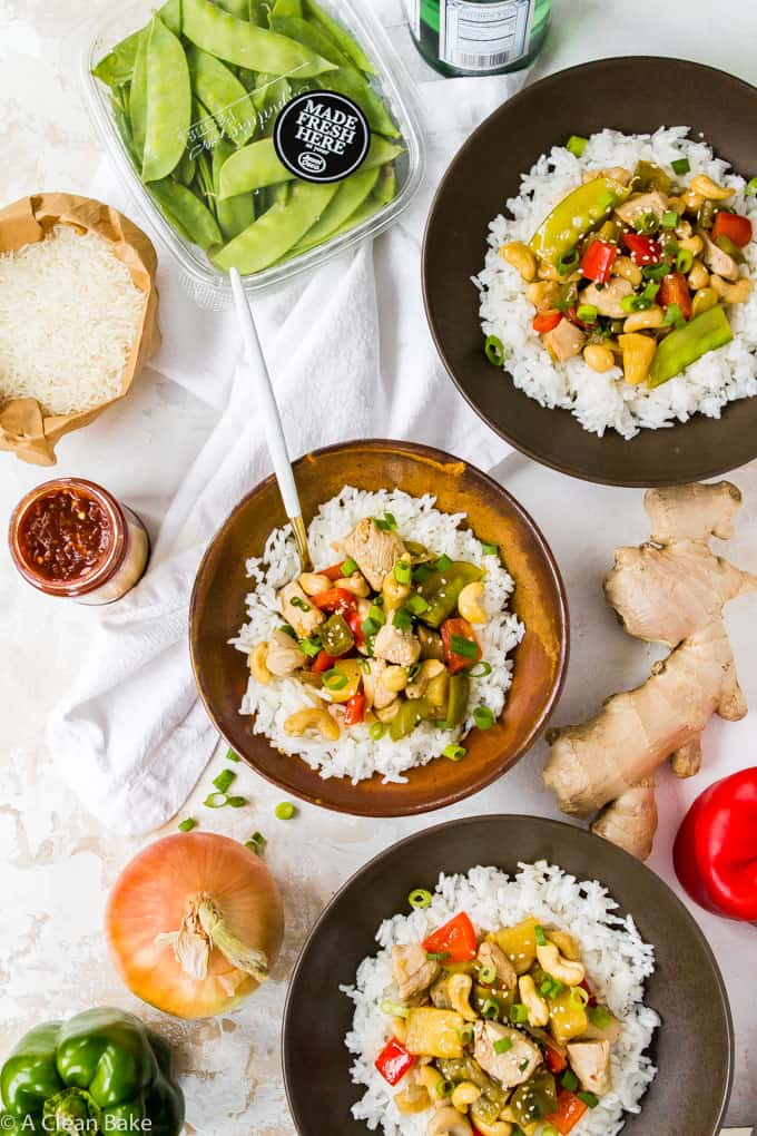 Skip the takeout! Cashew Chicken is so easy to make at home, in only one pan. Plus, it's on the table in 30 minutes or less! #glutenfree #paleo #recipe #chicken #dinner #30minutemeals #takeoutfakeout