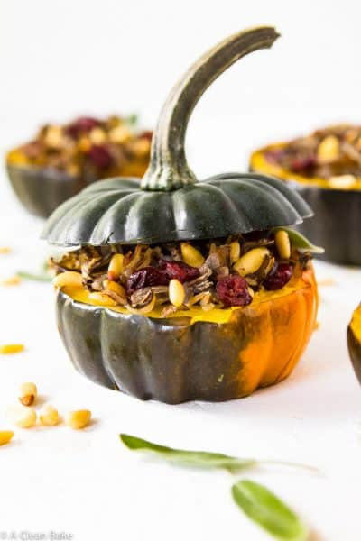 Stuffed Acorn Squash with Wild Rice and Cranberries (Gluten Free and Whole30)