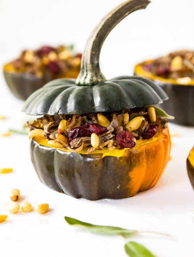 Stuffed Acorn Squash with Wild Rice and Dried Cranberries (gluten free, vegan)