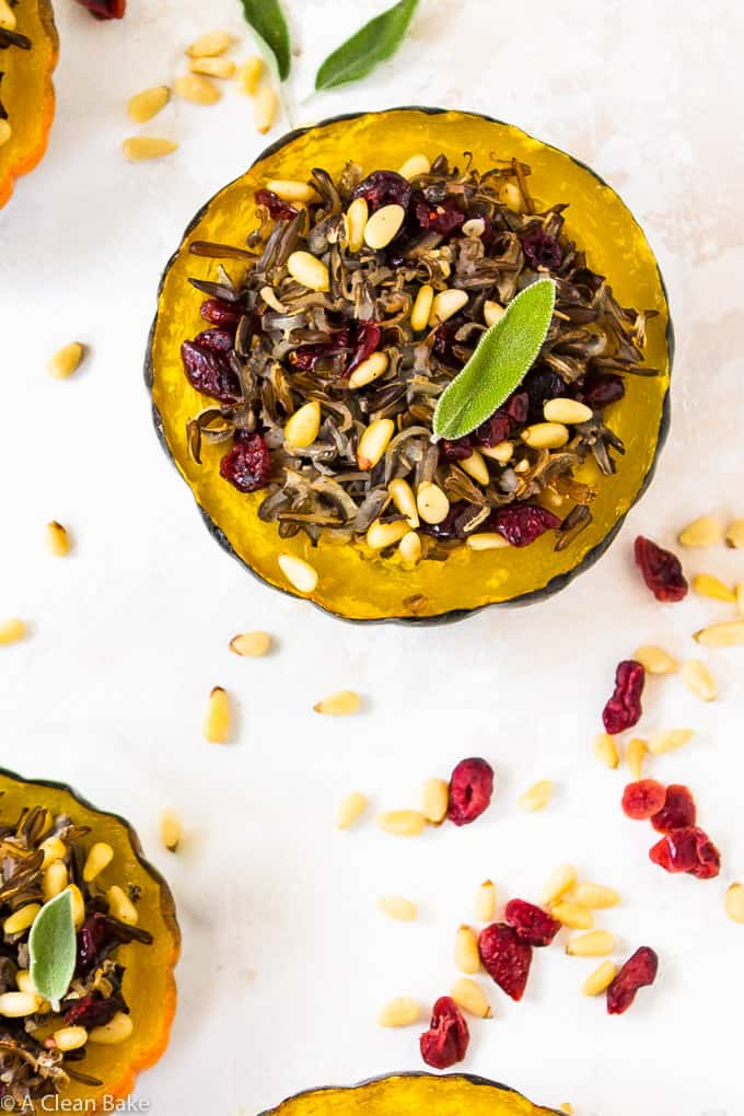 Stuffed Acorn Squash with Wild Rice and Dried Cranberries (#gluten free, #vegan)