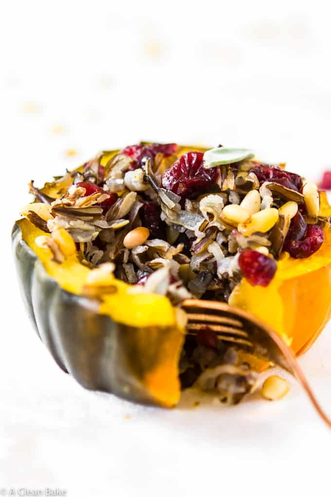 Stuffed Acorn Squash with Wild Rice and Dried Cranberries makes an amazing vegan meal! (gluten free, vegan)-8