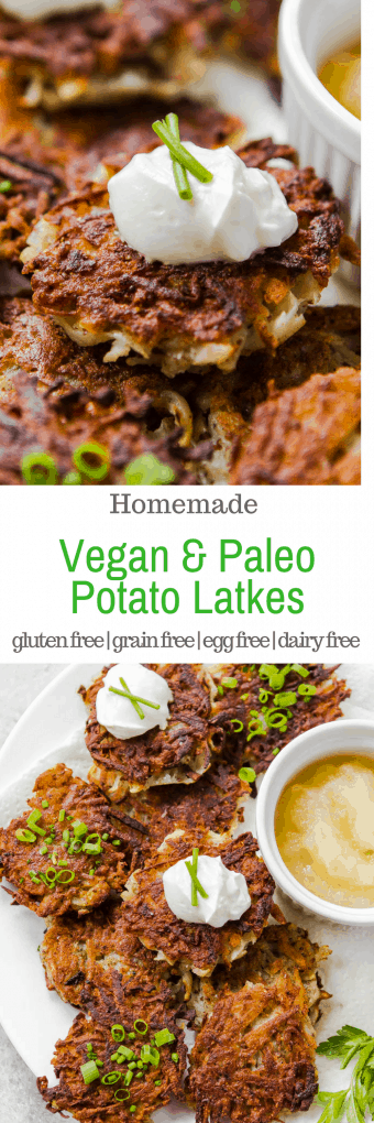 Vegan & Paleo Potato Latkes #EggFree, #Glutenfree #grainfree #vegan #paleo #recipe #Hanukkah #Chanukah #recipe