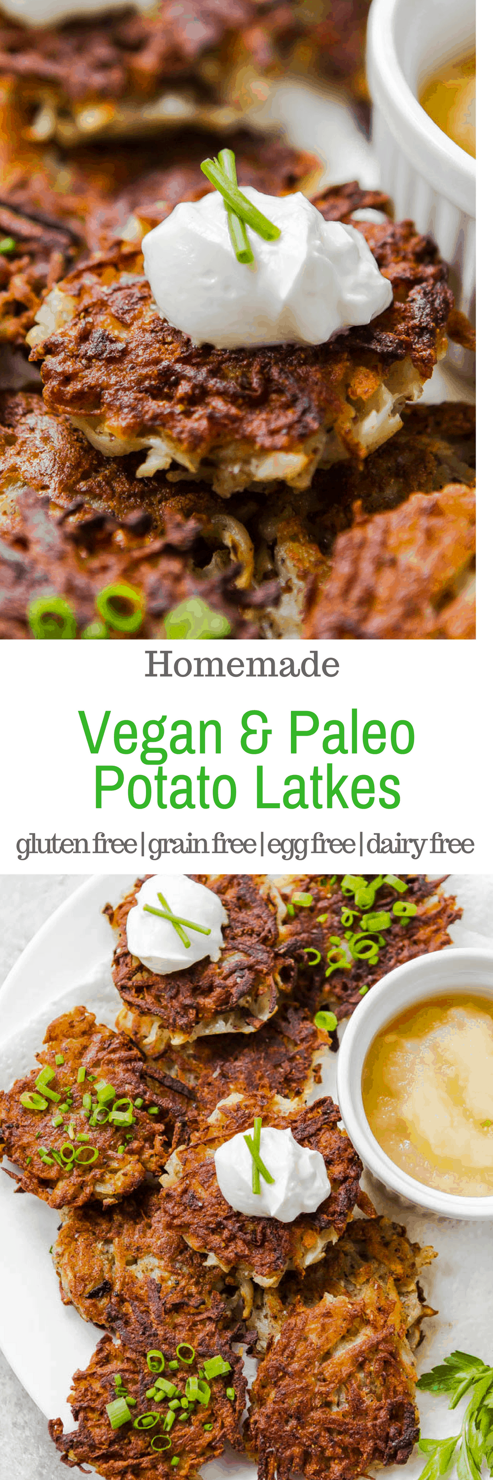 There are plenty of potato latke recipes out there for Hanukkah, but these are special because they contain NO gluten, grains, eggs, or dairy! #EggFree, #Glutenfree #grainfree #vegan #paleo #recipe #Hanukkah #Chanukah #recipe