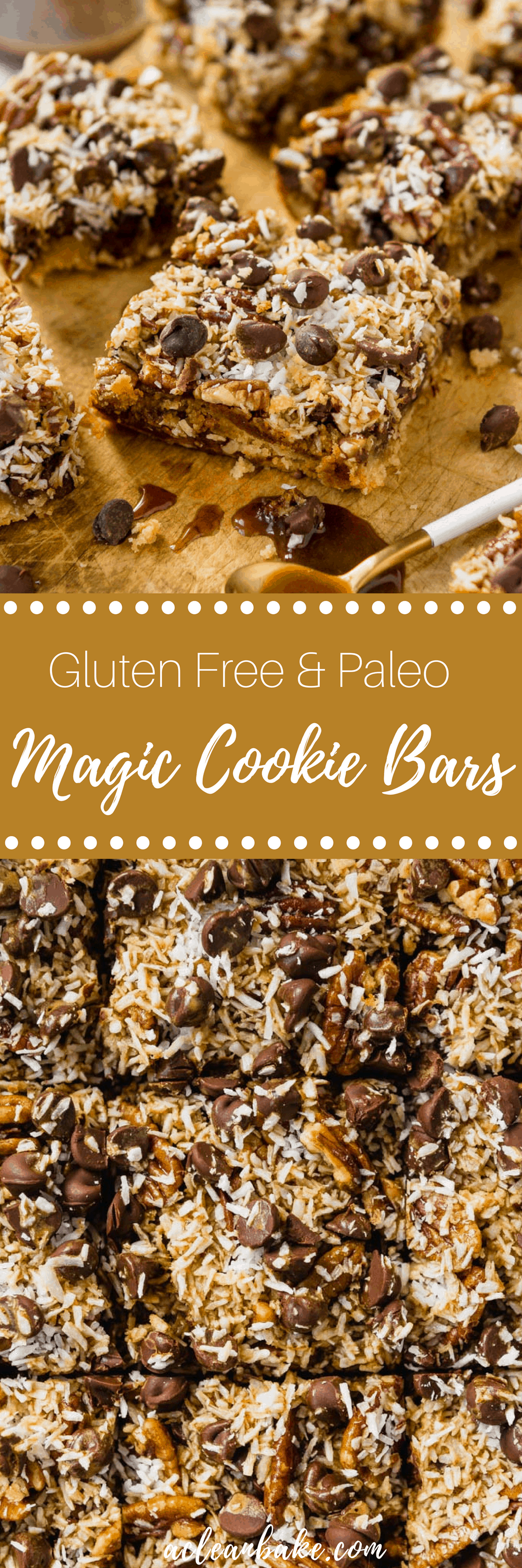 Gluten free and paleo magic cookie bars! This classic holiday cookie plate recipe has been made over to be better for you. A slightly cakey shortbread crust is topped with dark chocolate, crunchy pecans, chewy coconut and homemade dairy free and refined sugar free caramel sauce! #cookie #magiccookie #hellodolly #sevenlayer #christmas #cookieexchange #chocolate #coconut #caramel #homemade #bar