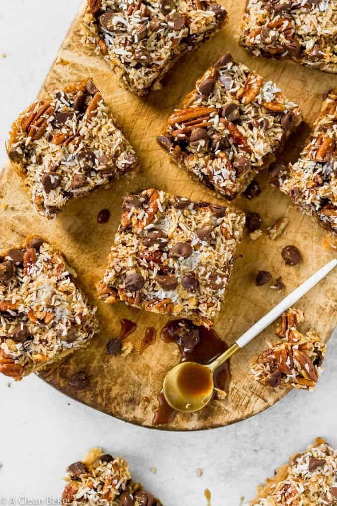 A gluten free and paleo version of the classic holiday favorite magic cookie bars