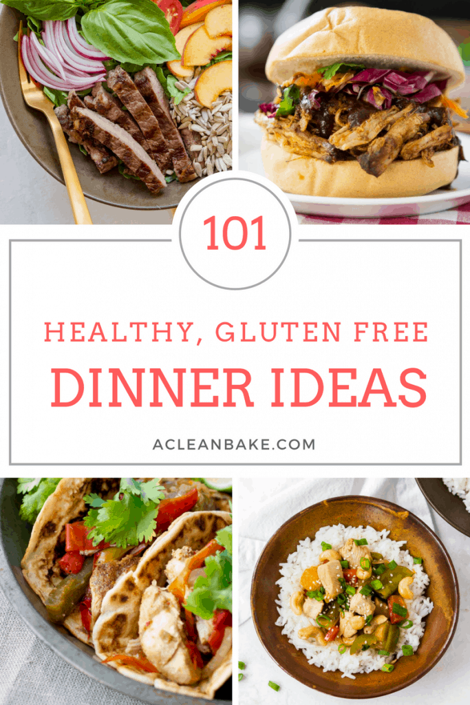 Gluten free dinner ideas (101 of them!) that are easy to make and delicious to eat! Plenty of Whole30, Paleo, and Low Carb options, too. #glutenfreedinners #glutenfreedinnerrecipes #glutenfreedinnerideas #paleodinners #paleodinnerrecipes #easydinners #healthydinners #paleodinnerideas #whole30dinnerrecipes #lowcarbdinnerrecipes