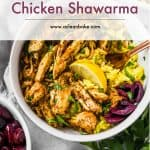 Bowl of slow cooker chicken shawarma over rice with title of the recipe written over it