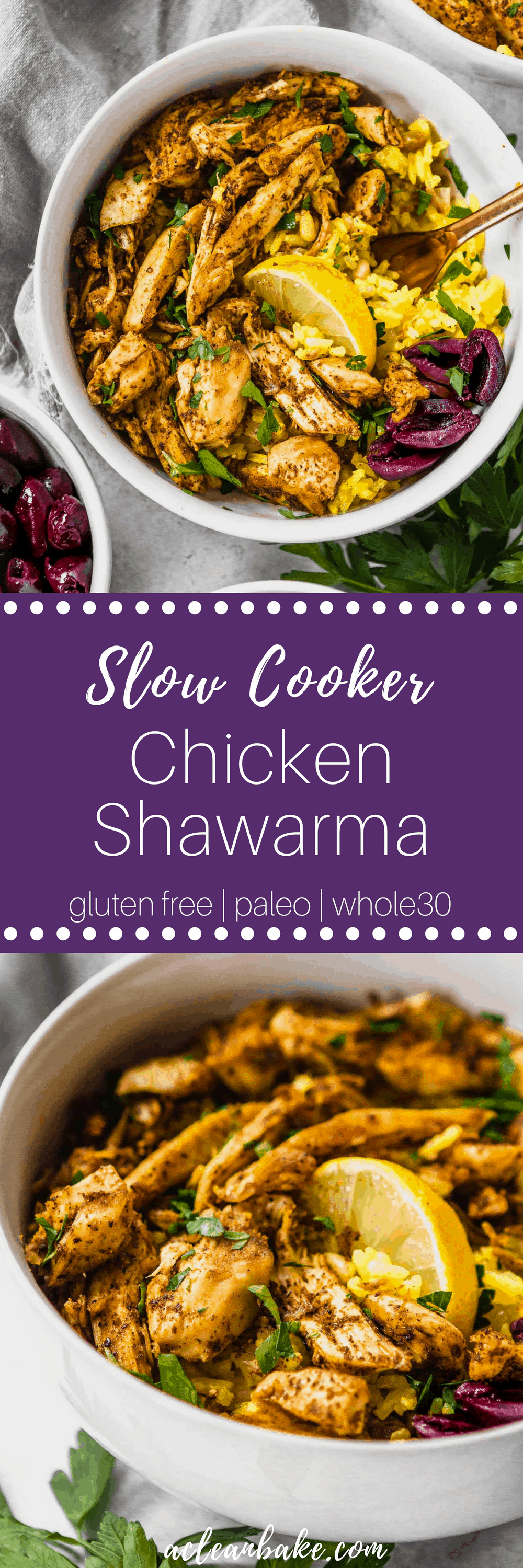 Slow cooker chicken shawarma combines the ease of a slow cooker meal with the complex flavor of a slow-roasted middle eastern chicken feast! Various serving options make this sensational #paleo and #glutenfree #dinner #recipe adaptable for #lowcarb and #Whole30 compliance, too! #easydinner #easydinnerrecipe #healthydinner #healthydinnerrecipe #paleodinner #paleodinnerideas #glutenfreedinner #glutenfreedinneridea #dairyfree #lowcarbdinner #whole30dinner