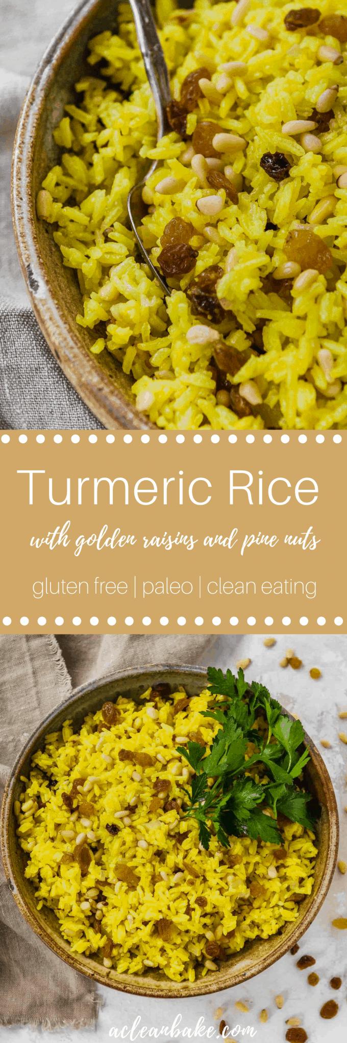 Turmeric Rice with Golden Raisins and Pine Nuts #glutenfree #glutenfreedinner #sidedish #glutenfreerecipe #paleo #Paleorecipes #Paleorecipe #paleosidedish #turmeric #antiinflammatory #superfoods