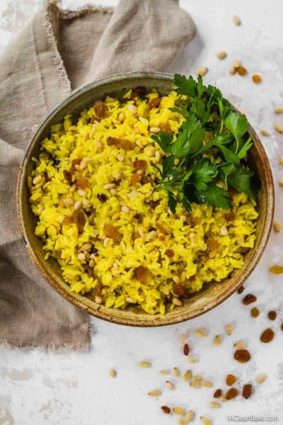 Turmeric Rice with Golden Raisins and Pine Nuts