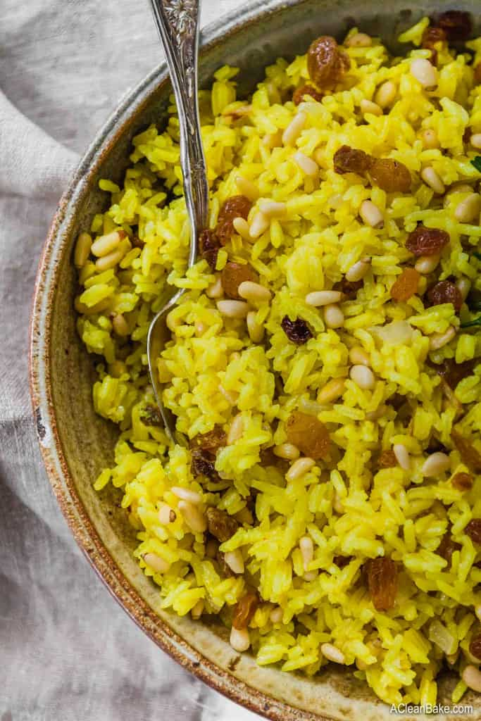 Turmeric Rice with Golden Raisins in a bowl