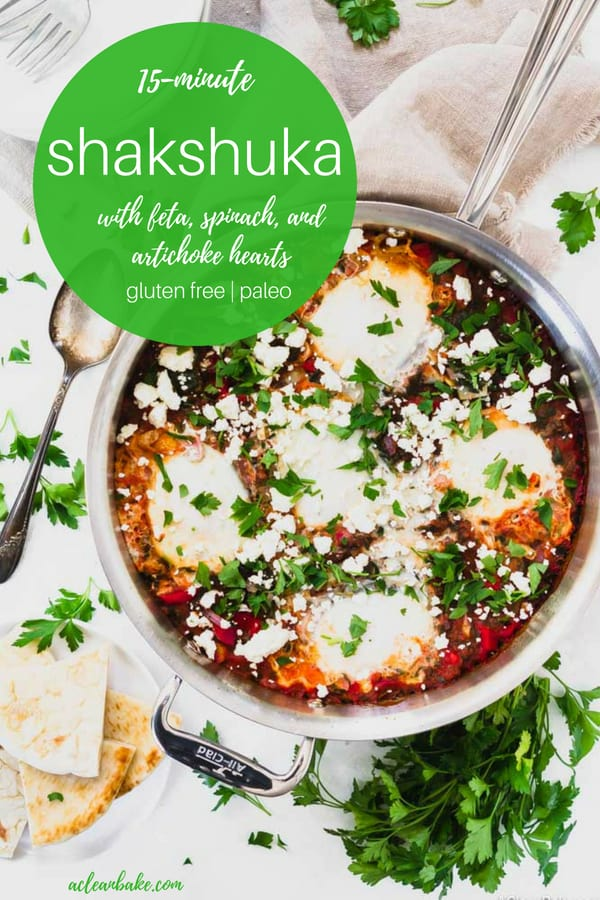 Shakshuka with Feta and Extra Veggies #glutenfree, #paleo, #whole30 #dinner #glutenfreedinner #glutenfreerecipe #paleorecipe #paleodinner #healthydinner #easydinner #paleodinner #healthyrecipe #healthydinner #meatlessmonday