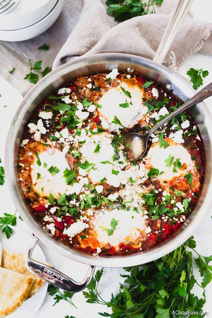 Shakshuka with Feta and Extra Veggies (gluten free, paleo, whole30)-1