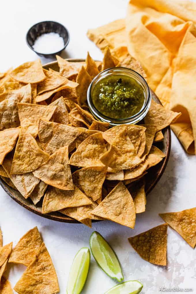 Homemade Gluten Free Tortilla Chips (Baked, Not Fried!) #glutenfree #realfood #healthysnack #glutenfreesnack #homemade #diy #baked #lowfat #healthy #healthier