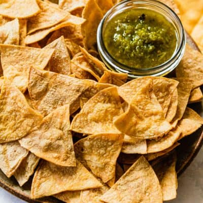 Homemade Gluten Free Tortilla Chips (Baked, Not Fried!) #glutenfree #realfood #healthysnack #glutenfreesnack #homemade #diy #baked #lowfat #healthy #healthier