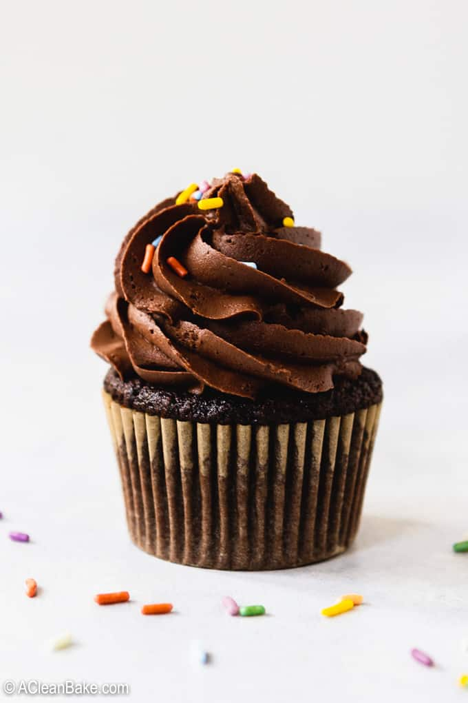 This is the BEST Chocolate Buttercream Frosting Recipe you'll try. It's made with less sugar, so the chocolate flavor shines through! The texture is rich and silky. Everyone loves this easy chocolate buttercream frosting! #glutenfree #cakes #cakedecorating #frosting #dessert #dessertrecipe #dessertrecipes #cakerecipe #cakerecipes