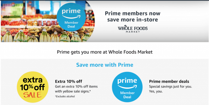 Whole Foods benefits for Amazon Prime members