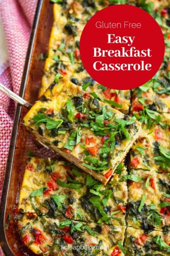 This gluten free breakfast casserole is perfect for meal prep, hungry kids, holiday guests and everything in between! A base of @udisglutenfree sandwich bread topped with all real food ingredients make this a hearty and delicious meal. Pin this recipe for later - you'll be glad you did! #glutenfree #realfood #glutenfreebreakfast #healthybreakfast #glutenfreerecipes #udisglutenfree #healthyrecipes #cleaneating