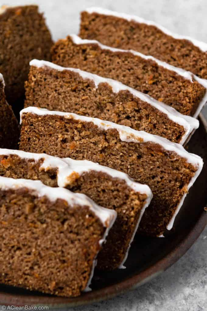 Spiced paleo sweet potato spice bread on a serving platter