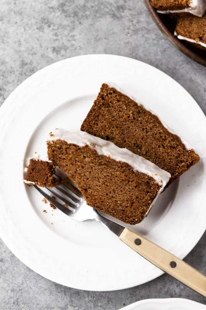 Slices of paleo sweet potato spice bread on a plate
