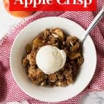 Vegan Paleo Apple Crisp is an easy, no-fuss holiday dessert! It's gluten free, dairy free, and naturally sweetened with coconut sugar and maple syrup. The simple topping is made from almond flour (almond meal) and spiced with cinnamon! #glutenfree #glutenfreedessert #paleo #paleodesserts #glutenfreerecipes #paleorecipes #glutenfreedessertrecipes #paleodessertrecipes #falldesserts #thanksgivingdesserts #paleothanksgiving #glutenfreethanksgiving #grainfreedessert #paleoholidays #holidaydesserts