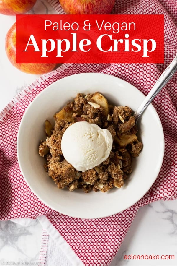 Vegan Paleo Apple Crisp is an easy holiday dessert! It's gluten free, dairy free, and naturally sweetened with coconut sugar and maple syrup. The simple topping is made from almond flour (almond meal) and spiced with cinnamon! #glutenfree #glutenfreedessert #paleo #paleodesserts #glutenfreerecipes #paleorecipes #glutenfreedessertrecipes #paleodessertrecipes #falldesserts #thanksgivingdesserts #paleothanksgiving #glutenfreethanksgiving #grainfreedessert #paleoholidays #holidaydesserts