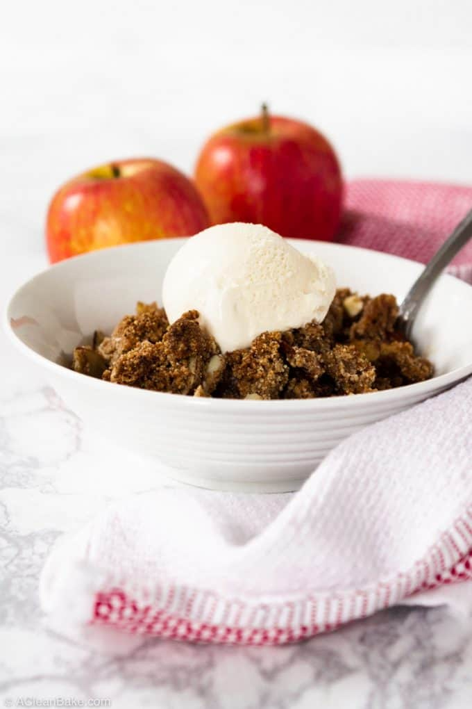 Bowl of Vegan Paleo Apple Crisp with Ice Cream