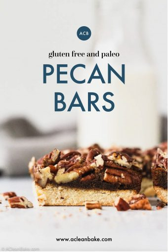 Paleo Gluten Free Pecan Bar with glass of milk behind it