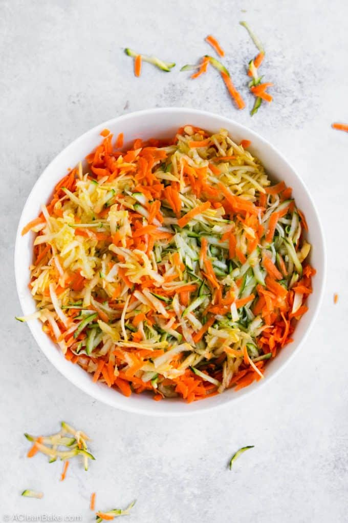 Large bowl of shredded veggies for Paleo Gluten Free vegetable Fritters